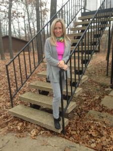 Cashmere sweater and J.Crew sweat pants plus Pucci scarf, Rag & Bone booties